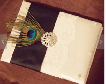 Wedding guest book ivory or white and black