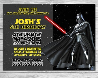 Star Wars Invitation Darth Vadar - Star Wars Birthday Invitation - Star Wars Birthday Party Invite - Star Wars Party Printable