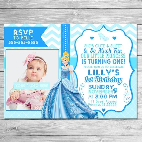 ON SALE Cinderella Invitation Photo Invite // Cinderella Birthday Party // First Birthday Invite // Princess Cinderella Invite