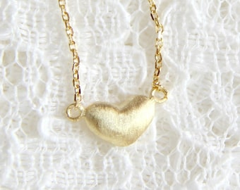 Gold Puffy heart necklace. Sterling silver, Vermeil. Dainty necklace