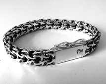 Men's Silver Bracelet  - 925 sterling silver. Big, Heavy and Very Cool! Great  gift for men! Fully handmade!