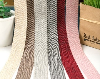 "Herringbone Wool Ribbon 6 color <3/4"" (20mm), 1"" (25mm), 1.5"" (40mm)> made in korea"
