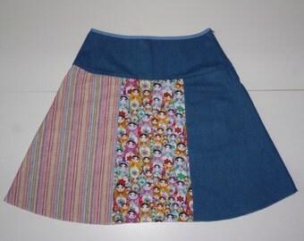 Colorful matroesjka skirt, A-line skirt, size EU 40 (USA 10 - UK 12), print, stripes, cotton, jeans, zipper