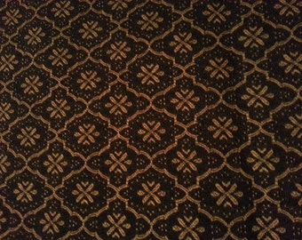1 yd. Black Gold Patterned Fabric,  1st