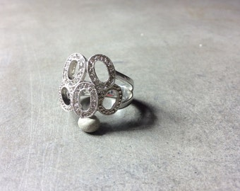 Five O's Zeros 0's Cubic Zirconia and Sterling Silver Ring Size 9.25