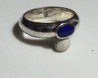 Small Oval Shaped Lapas Gem Sterling Silver Ring Size 6