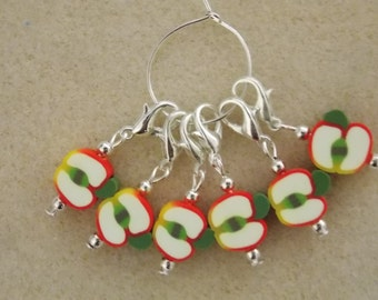 Crochet Stitch Markers Apples Set of 6