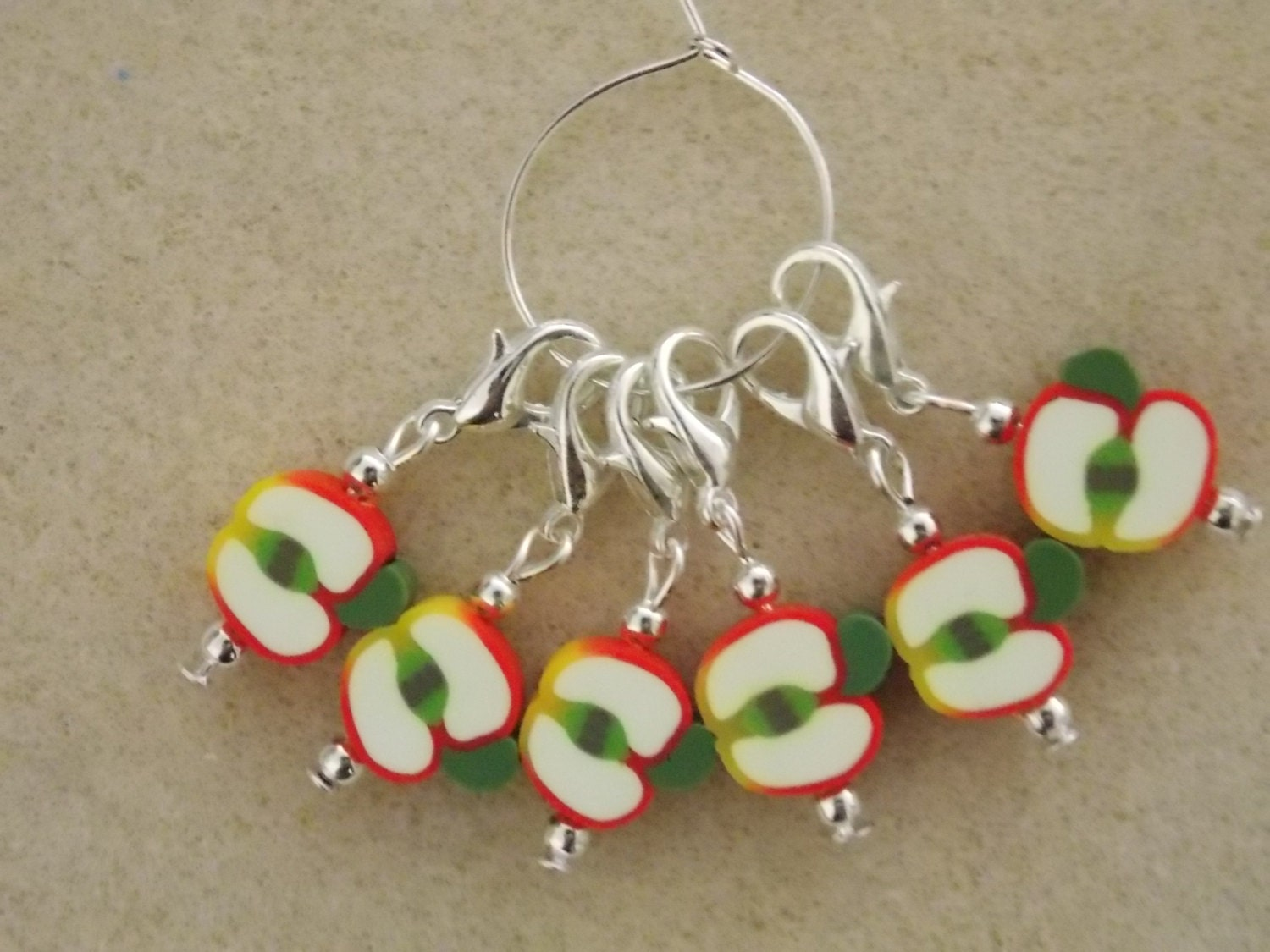 Crochet Stitch Markers : Crochet Stitch Markers Apples Set of 6 by 3wildoranges on Etsy