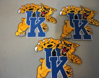 Lot of 3 University of Kentucky embroidered patches old stock glue or sew in