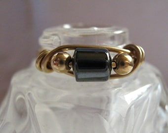 Hematite 14k Gold Filled Wire Ring