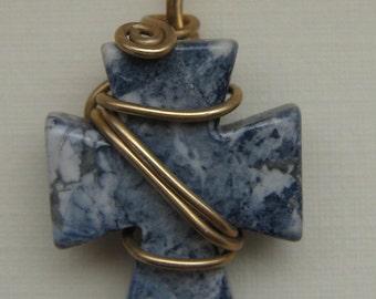 Blue Howlite/Agate Cross Pendant, Unique, 14k Wire