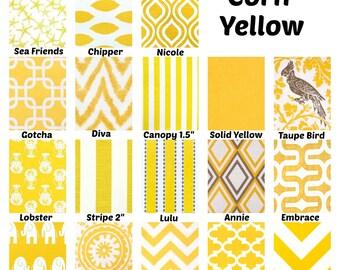 Yellow Pillow Covers, Decorative Throw Pillows, Cushions, Corn Yellow on White Chevron Stripe Ikat Suzani One or More Mix & Match All Sizes