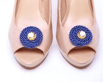 Swirl Blue/Gold shoe clips