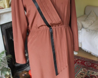 Long Brown Dress with Diagonal Sash Ref 53