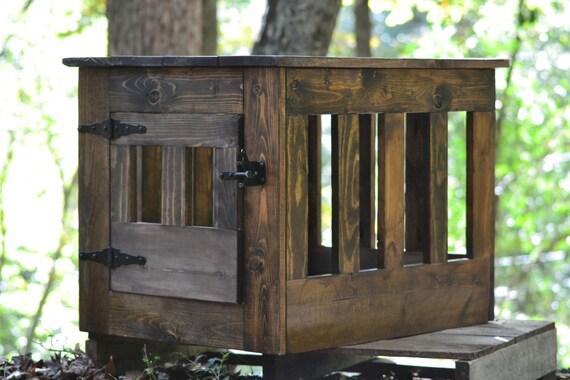 Dog Crate End Table, Wooden Dog Kennel, Indoor Wood Dog House