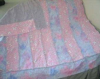 Blanket,Butterfly kids Flannel Blanket. Pink ,Purple and Blue Size 51 x 51