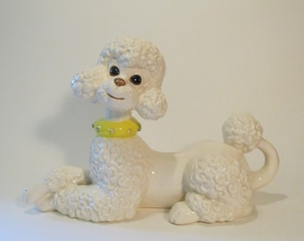 Vintage Atlantic Mold Poodle with Yellow Rhinestone Collar