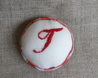 Upcycled Pin Cushion Brooch with Hand Embroidered Monogram 'T'