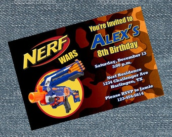 Nerf Invitations - Nerf Wars personalized for your birthday