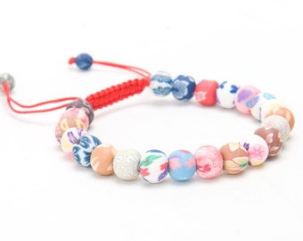 Polymer Clay Beaded Adjustable Slip Knot Multicolor Bracelet