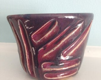 Sale Ceramic Bowl abstract art design. Small hand carved red and black bowl which will look good as a center piece on your dining room table