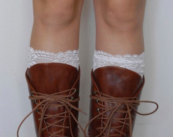 Lace Boot Cuffs - White