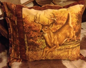 Right Facing Buck two sided Pillow