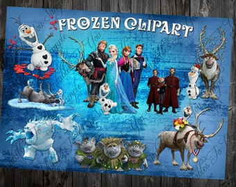 Frozen Clipart Printable Pictures - Transparent background Images - High definition 300 dpi PNG Photos + clipart Invitations commercial use