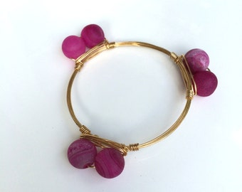 Pink Druzy Wire Wrapped Bangle