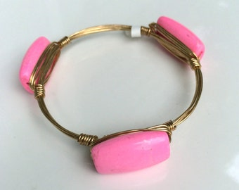 Pink Wire Wrapped Bangle