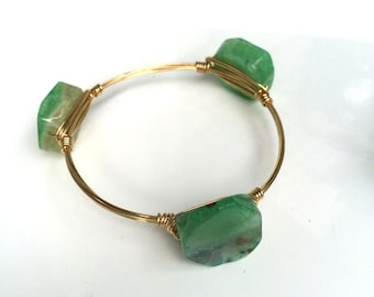 Green Wire Wrapped Bangle