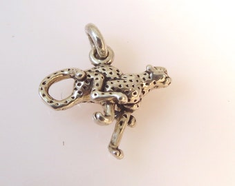 Sterling Silver 3-D CHEETAH Charm Cat Safari Jungle Pendant .925 Sterling Silver 925 New an23