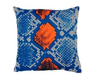 Snakeskin Linen Cushion two colours