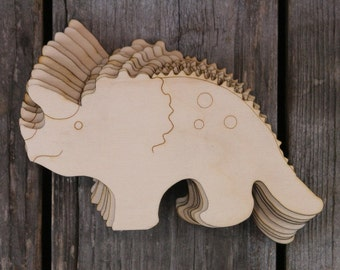 10x Wooden Triceratops Dinosaur Craft Shapes 3mm Plywood