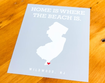 Wildwood, NJ - Home Is Where The Beach Is - Art Print  - Your Choice of Size & Color!