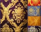 "Crown with Cross"" Metallic Greek Brocade Material"