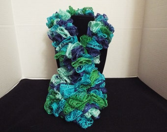 Crochet Ruffled Scarf, Handmade Blue and Green Lacy Winter / Warm Scarf