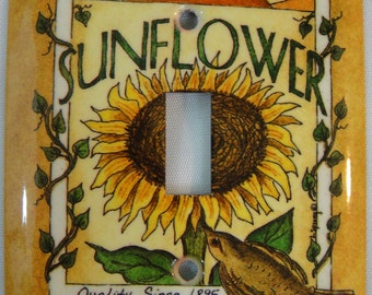 Light Switchplate Cover - Single Toggle - Metal - Designer: Overstock Lot - Sunflower Design - Switch Plate - (SCSOV-037)