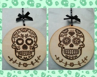Hand burned (pyrography) 'Anti-Christmas' wooden Sugar Skull bauble decoration gift