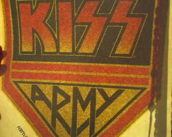 Rare Aucoin KISS ARMY iron on decal in excellent condition  True vintage 1977