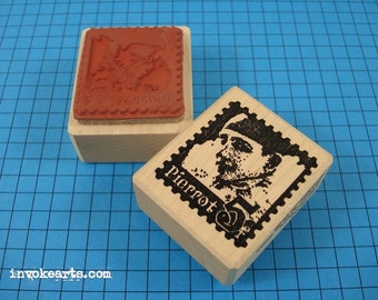 Pierrot Post Face Stamp / Invoke Arts Collage Rubber Stamps