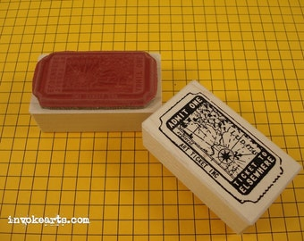 Elsewhere Ticket Stamp / Invoke Arts Collage Rubber Stamps