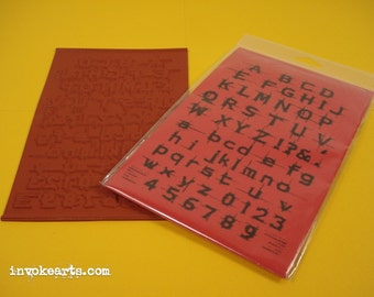 Scratched Frosted Alphabet / Invoke Arts Collage Rubber Stamps / Unmounted Stamp Stamp