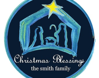 Nativity Stickers, Personalized Christmas Stickers, Shaped Labels, Party Stickers, Favor Stickers, Personalized Product Labels