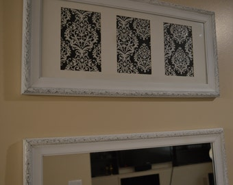 Shabby Chic matching white mirror and picture frame