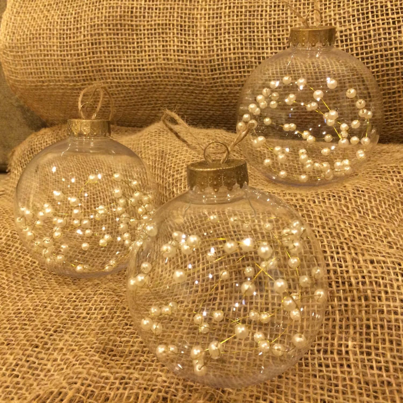 THREE BEAUTIFUL Clear Christmas Ornaments Beaded Pearls inside