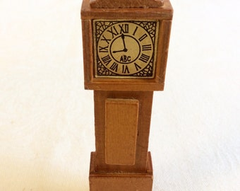 Vintage 1960s Wooden Dollhouse Grandfather clock - dollhouse furniture