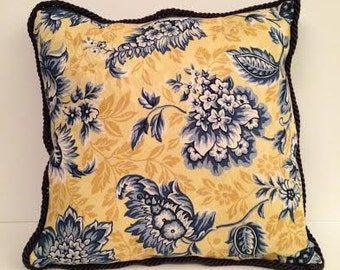 Yellow and Blue Paisley Throw Pillows and table runner