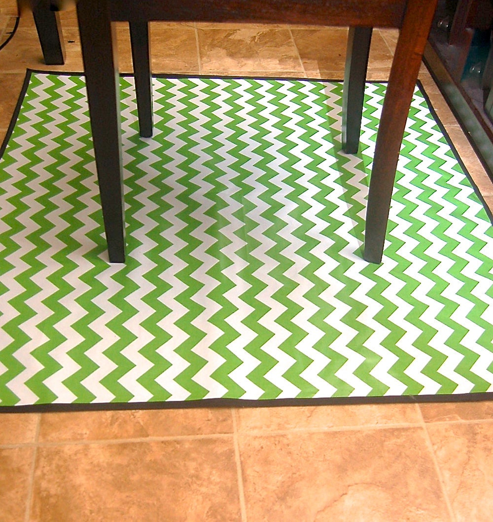 non slip laminated cotton green chevron high chair messy mat
