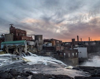 Sunset at Lyons Falls Pulp and Paper Mill / Waterfall: A Central New York Fine Art Photography Print 8x12 Inch